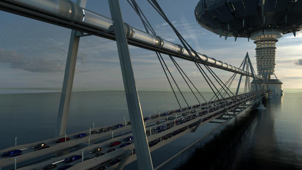 099 composite bridge, hyperloop tunnel and cityscape